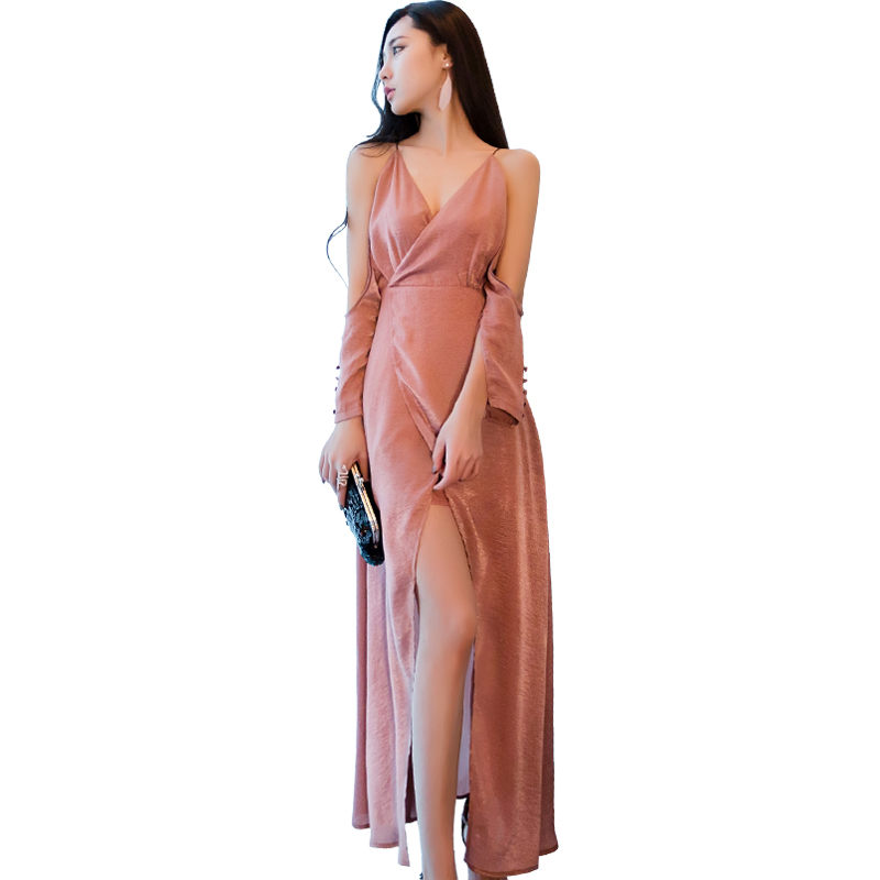 Korean Lynn 2017 summer new sexy strapless dress waist strap long asymmetrical slits in summer