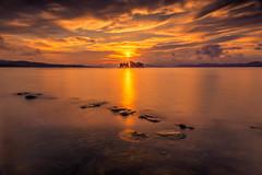 sunset 9631 (junjiaoyama) Tags: japan sunset sky light cloud weather landscape orange contrast colour bright lake island water nature fall autumn rocks