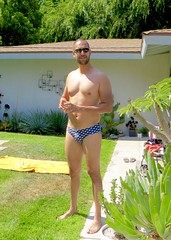 IMG_9502 (danimaniacs) Tags: shirtless man guy sexy hot smile bald beard scruff pecs bulge shorts swimsuit trunks speedo