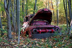 Red Fall (SkyeHar) Tags: decay fall autumn woods forest truck vehicle red sonya6300 leaves trees a6300 abandoned old colors sigma30mmf14dc pickup sigma auto