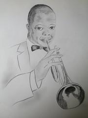 Portrait de Louis Armstrong (vers 1964-1965) par Yvette Gauthier, dessin de jeunesse (Yvette G.) Tags: 1mois1thème dessin crayon louisarmstrong années60 jazz