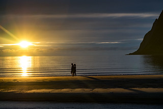 Midnight Sun, Ersfjord Beach, Senja, Troms, Norge