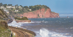 Rough seas along the sea wall (Rails West) Tags: 125 devon fgw125 locations teignmouth seawall spreypont opheliastorm