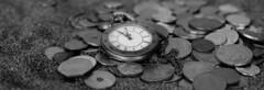 Silver Round Coins (Mr.JamesBaker) Tags: antique blackandwhite clock coins money pocketwatch sand time timepiece vintage watch