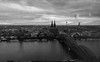IMG_20170918_193549_10212017164306-2 (TheGufotography) Tags: germany cologne iphone7cam night city blackandwhite architecture urban river rivermain colognecathedral hohenzollernbridge cathedralchurchofsaintpeter viewfromkölntriangle