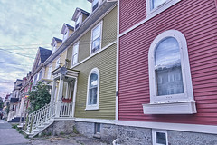 Windows of St. John's (gabi-h) Tags: windows windowswednesday architecture colourful homes jellybeanrow street stjohns newfoundlandandlabrador gabih sky blue white red yellow clapboard reflections stairs windowboxes dormers