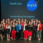 Alumna and homecoming speaker Christina Hammock Koch poses for a photo with Alumni Association Student Ambassadors