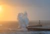 Elevation (johnkaysleftleg) Tags: seahamharbour lighthouse wavecrash wave bigwave sunrise county durham durhamcoast roughseas drama canon760d canonef70200mmf4lusm
