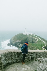 Trip to Anglesey. (Alejandro Melero Carrillo) Tags: anglesey wales uk gales southstack faro lighthouse sea cliffs acantilados waves olas mar stairs escaleras girl fog niebla fujix20 fujifilm x20