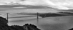 San Francisco's Golden Gate (World-viewer) Tags: ocean sea clouds sony ilce6000 a6000 beautiful pretty outdoor monochrome bw blackandwhite travel ngc skyline vista architecture marin marine california sanfrancisco bay goldengate landscape bridge