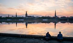 Fishing meditation (MarxschisM) Tags: riga latvia old town architecture sunrise river historical fuji xt1 samyang21mm