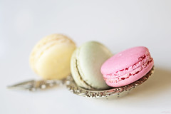 Pastel cookies (eleni m (trying to catch up)) Tags: macarons cookies sweet pastel teastrainer dof silver food macro pink green yellow bokeh