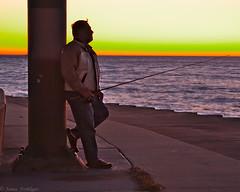 Gone Fishin (woobear) Tags: canon eos 5d mark ii chicago belmont harbor fishing sunrise