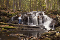 Tucker Brook Falls (and me) (lilredlizzie) Tags: waterfall outdoors outside travel wanderlust selfie serene beautiful nature woods forest autumn leaves tree water tripod portrait selfportrait redhead canon canon6d canon2470l newengland newhampshire pretty beauty fall landscape