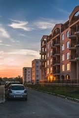 Sunset boulevard (Mantere) Tags: bulgaria sunnybeach road alley car sunset dusk sun