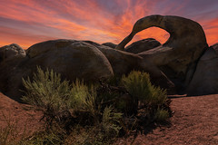 Mobius Arch @ sundown (RigieNL) Tags: sony sonya6000 zonsondergang californie california arch lone pine lonepine alabamahills sundown sunset sky insta instagram color purple pink red cloud clouds landscape landschap america usa vs hdr amerika nature natuur