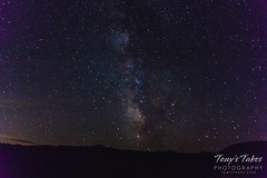 The Milky Way with a meteor at the top