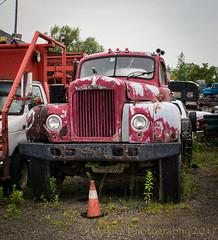 A Friendly Lookin' Face (HTT) (13skies) Tags: happytruckthursday big bigoldtruck hauler monster htt red sitting lost old done retired waiting truckthursday truck relic ancient patina macktruck mack