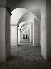 essenzialità (fotomie2009) Tags: savona fortezza priamar galleria portici archway perspective liguria italy italia monochrome bw bn monocromo