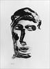 Decalcomania monoprint. 2010. (Dave Whatt) Tags: blackandwhite decalcomania fineartprints faces serendipity acrylicpaint blackpaint surrealism figurative strangeness artwork artonpaper