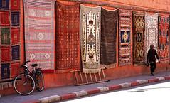 Carpets (JLM62380) Tags: marrakech street carpets woman bike ladder morocco wall