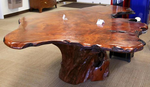 Great 6'x8' Redwood Free Form Table w/ Root Base ($4,592.00)