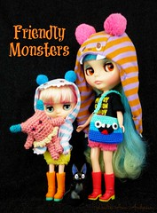 Friendly Monsters (Leslieshappyheart) Tags: monsters blythedoll yellowmarshmallow mandycottoncandy