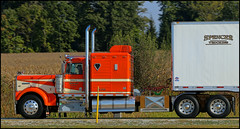 Spencer Trucking (raymondclarkeimages) Tags: raymondclarkeimages 8one8studios outdoor usa canon 6d transportation trucking truck logistics 70200mm diesel cdl transport freight tractortrailer semi road kw kenworth conventional sleeper rig bigtruck spencertrucking twinstack blackborder