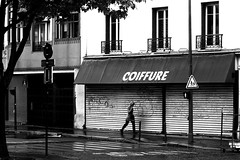 By following the closed doors (pascalcolin1) Tags: paris13 femme woman pluie rain reflets reflection photoderue streetview urbanarte noiretblanc blackandwhite photopascalcolin