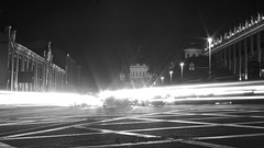 Flare (thatyoungman) Tags: moscow russia city longexposure flare library cars road lights temple church night lanes blur cityscape street building intersection