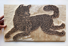 """THE WOLF"" Woodcut - Carved! (Tugboat Printshop) Tags: wolf woodcut woodblock tugboat printshop tugboatprintshop valerielueth womanprintmaker shewolf lonewolf thewolf wolfprint wolfwoodblock wolfwoodcut tugboatprintshopwolf printofawolf traditional print traditionalwoodcut woodblockprint woodcutprint woodcutprocess woodcutwip woodcarvingwoodcut woodcarvingwoodblock handcarvedwoodcut handcarved handcraftedwoodcut pittsburghprintmaking pittsburghwoodcutartist madeinpittsburgh handmadeinpittsburgh"