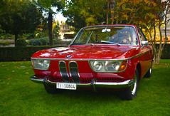BMW 2000 CS (1965) (Magic cars) Tags: bmw 2000 cs 1965 red green weed classic car cars autumn concorso eleganza elegance beauty light sunlight trees hotel stresa regina palace nikon club italia italy old past auto