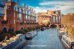 Birmingham Canal (atomikkingdom) Tags: birmingham canal narrowboat blue uk cloud water moored sky light boats apartment pavement waterways