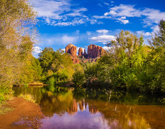 """Autumn Reflections of Cathedral Rock""  Sedona, Arizona (Cathy Lorraine) Tags: cathedralrock sedona arizona redsandstone canyons october autumn fall reflections river panasonic sunshine bluesky colorful red orange blue yellow green clouds sunrays5 he colors"