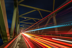 Tron (ianrwmccracken) Tags: night blur d750 nikon bridge lowlight vehicle red longexposure highland scotland girder motion ianmccracken bluehour trail lochaber ballachulish steel dusk nikkor1635mmf4 light road
