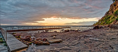 The width of sunrise (JustAddVignette) Tags: australia beach clouds cloudysunrise dawn landscapes newsouthwales newport northernbeaches ocean panorama rockpool rocks seascape seawater sky sunrise sydney water waves