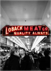 Loback Meats Co (blamstur) Tags: neon selectivecoloring pikeplacemarket seattle washington motionblur vanishingpoint