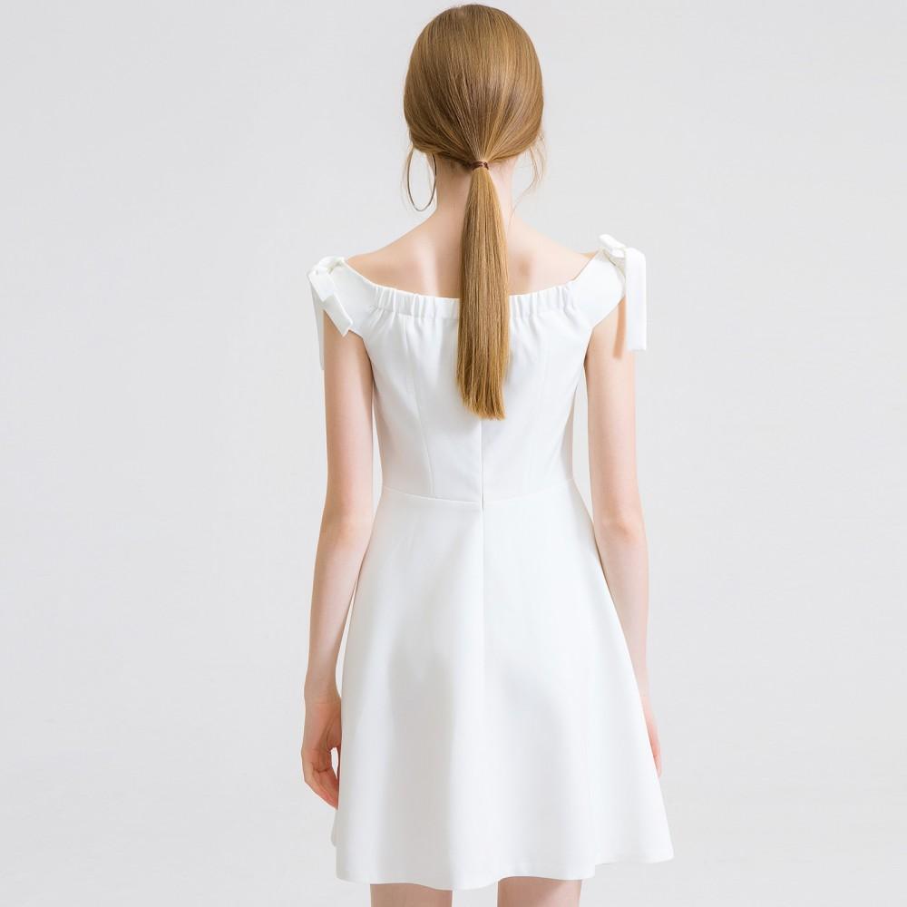 2017 new summer dress temperament sugar White Sleeveless strapless dress waist a A-line skirt thin skirt