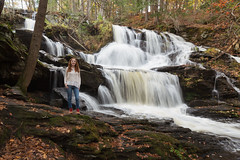 Garwin Falls (and me) (lilredlizzie) Tags: waterfall outdoors outside travel wanderlust selfie serene beautiful nature woods forest autumn leaves tree water tripod portrait selfportrait redhead canon canon6d canon2470l newengland newhampshire pretty beauty landscape