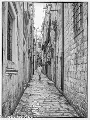 The Man (lorinleecary) Tags: otherkeywords alley man trips streetscenes people stonewalls dubrovnik croatia blackandwhite windows
