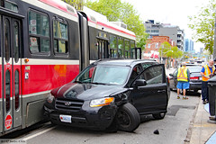 """""""Totalled"""" (Can Pac Swire) Tags: car auto automobile ttc streetcar tram crash queenstreet east broadview avenue 20170522 2017 may 22 honda hyundai 2017aimg8990 toronto ontario canada canadian accident road"""