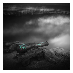 The Fog of War (picturedevon.co.uk) Tags: monopoli italy europe fineart le bw bnw blackandwhite mono absract composit cannon grey colourpop graffiti blue wall fort square canon nisi coast longexposure picturedevoncouk