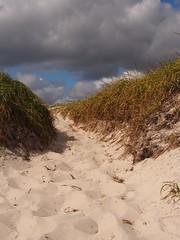Dune and Clouds (karsheg) Tags: beach autumn dunes sanddune boardwalk scenery newjersey islandbeachstatepark parks fall