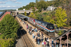 Busy Day at Rhinecliff (sullivan1985) Tags: amtrak hudsonvalley railroad railway train amtk amtk145 amtk156 amtk642 rhinecliff ny newyork station passengers people passengertrain ge generalelectric p42dc acs64