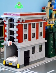 New Firehouse Exterior (Hobbestimus) Tags: lego moc ghostbusters firehouse slimer toys 80s cartoon movie ecto1