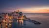 Italy - Vernazza at blue hour (Toon E) Tags: 2017 italy laspezia cinqueterre italianriviera monterossoalmare vernazza corniglia manarola riomaggiore sunset bluehour reflection water sea mediterranean sony 7rm2 zeiss sonyfe1635mmf4