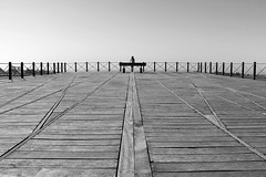 (cherco) Tags: woman mujer light lines lineas wood bridge sky composition composicion canon city ciudad chica blackandwhite blancoynegro human humano horizon horizonte lonely solitario silhouette solitary silueta alone aloner calle street arquitectura architecture