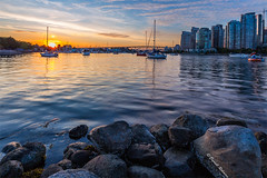 Vancouver Sunset (sierrasylvan) Tags: adobe adobebridgecc2017 adobelightroomcc2015 adobephotoshopcc2017 boats yachts sailboats granvillestreetbridge bridge buildngs skyscrapers canon canonef1635mmf28liiusmlens canoneos6d filter lee leefilter9nd cokin cokinfilterholder cokinzprofilterholder ocean pacificocean canada britishcolumbia southcoastregion lowermainlanddistrictnewwestminister vancouver charlesonpark falsecreek granvilleisland brownalgaekelp kelp plant sea trees tripod manfrotto manfrotto190xprobtripod manfrottobasicpantilthead vello freewavepluswirelessremotecontrolshutterrelease architecture black blue city cityscape clouds coast gray green landscape spruceharbourmarina marina lights orange outdoor park red reflection rocks shore sky summer sunset twilight water bay inlet white windows yellow