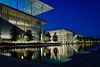 Stavros Niarchos Foundation Cultural Center (Tassos Giannouris) Tags: athens stavros niarchos foundation center exposure night architecture long lights greece reflections water building blue trees cultural sky