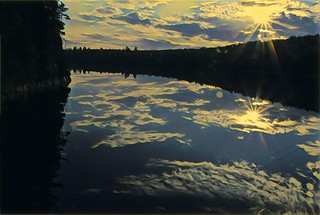 Lake Placid  New York ~ Sunset Reflection Off River ~